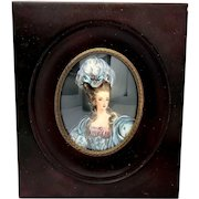 Antique French Portrait Miniature Painting Formal Lady
