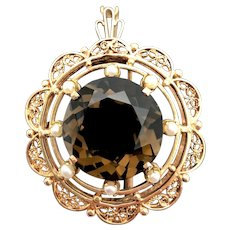14k Yellow Gold Smokey Quartz and Pearl Brooch/Pendant