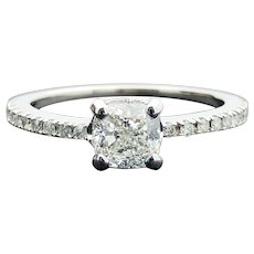 14k White Gold GIA Diamond Engagement Wedding Ring VVS2 H 1.10TCW