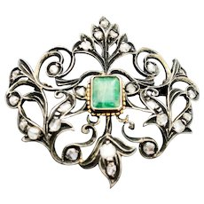 Antique Victorian Silver Emerald and Old Mine Cut Diamond Brooch