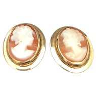 14k Yellow Gold Shell Cameo Earrings Made in Italy
