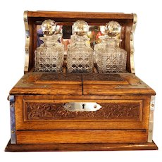 Antique 19th Century English Tiger Oak Tantalus w/ storage