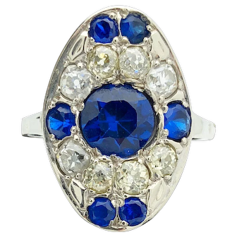 14k Custom Made White Gold Blue Stone and Euro cut diamond Ring