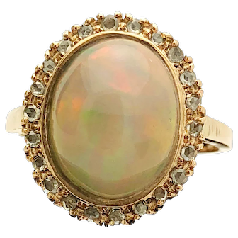 9k Rose Gold Semi Crystal Opal and Diamond Ring 11.68TCW