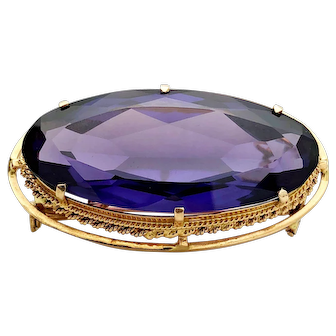 Large 14k Yellow Gold Synthetic Colour Change Sapphire Pendant/Brooch