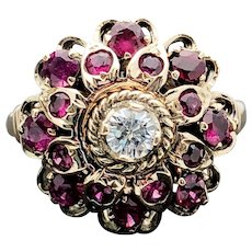 14k Yellow Gold Ruby and Diamond Ring 1.12TCW