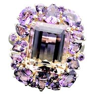14k Yellow Gold Ametrine and Amethyst Quartz Cluster Ring 8.66TCW