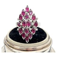 10k White Gold Ruby and Diamond Cluster Ring 2.66TCW