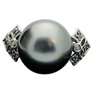 14k White Gold 11.70mm Tahitian Pearl and Diamond Ring
