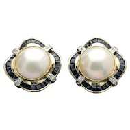 14k Yellow Gold Huge Mabe Cultured Pearl Sapphire and Diamond Earrings