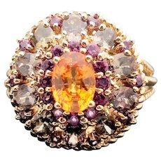 14k Yellow Gold Amethyst Citrine and Diamond Cluster Ring 2.57TCW
