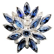 14k White Gold Sapphire and Diamond Cluster Ring 3.76TCW