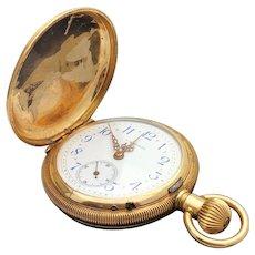 14k Yellow Gold F.A. Brunet Hunter Pocket Watch Circa 1901