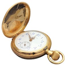 14k Yellow Gold F.A. Brunet Hunter Pocket Watch Circa 1901