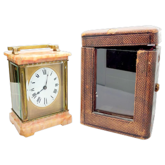 Antique Onyx and Brass Swiss Carriage Clock w/ case and key