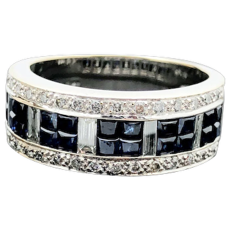 18k White Gold LeVian Blue Sapphire and Diamond Ring 3.25TCW