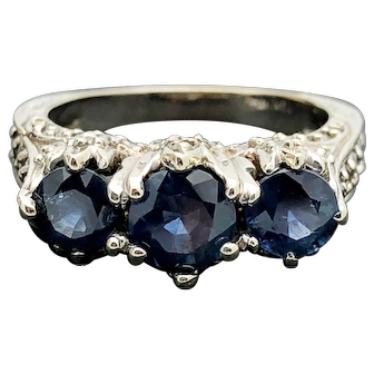 14k White Gold Blue Sapphire and Diamond Ring 3.19TCW