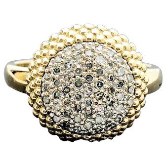 14k Yellow Gold Diamond Cluster Ring 0.275TCW