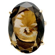 14k Yellow Gold 21.37ct Smokey Quartz Ring
