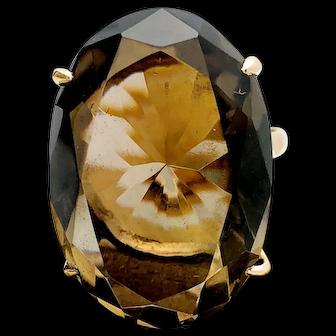 14k Yellow Gold 21.37ct Smokey Quartz Ring