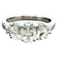 18k White Gold Green Quartz and Diamond Ring