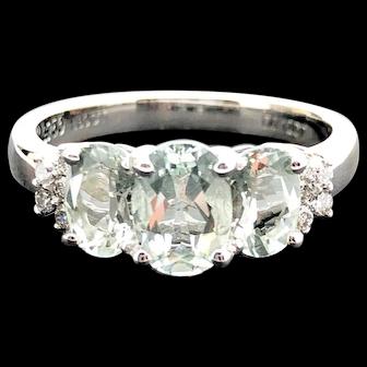 18k White Gold Green Quartz and Diamond Ring