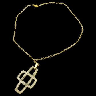 "14k Yellow Gold 0.59TCW Diamond Knott Cross w/ 17"" Rolo Chain"