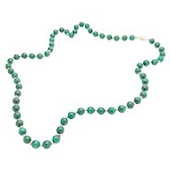 "14k Yellow Gold and Malachite Bead 26"" Necklace"