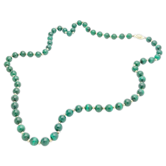 """14k Yellow Gold and Malachite Bead 26"""" Necklace"""