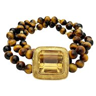 18k Yellow Gold Tigers Eye Bead and Citrine Custom Handmade Bracelet
