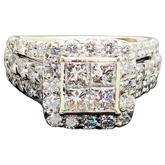 14k White Gold Diamond Engagement Wedding Ring 3.16TCW