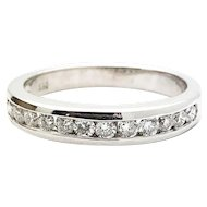 14k White Gold 1/2 Eternity Diamond Ring w/ appraisal