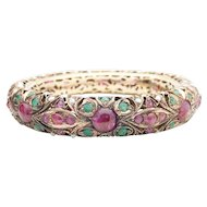 Antique 10k Indian Mughal Ruby Emerald and Pearl Wedding Bangle