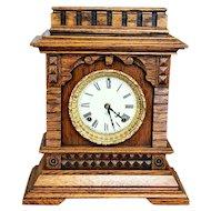 Antique 1890s Quarter Sawn Oak Ansonia Syria Bracket Shelf Clock