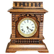 Antique 1890s Quarter Sawn Oak Ansonia Syria Bracket Shelf Clock