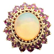 14k Gold Jelly Opal and Ruby Cluster Ring 11.90TCW w/ appraisal