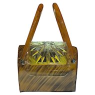 Mid Century MCM NYC LLEWLYN Tortoise Lucite Purse