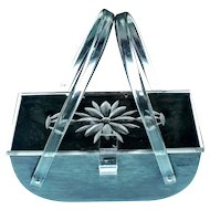 Mid Century MCM Clear/Grey Lucite Purse