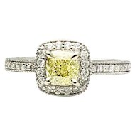 14k White Gold GIA Fancy Yellow Diamond Engagement Ring 0.92TCW