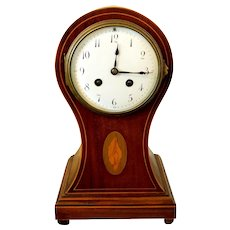 Antique Edwardian Era Mahogany Inlaid Balloon Mantle Clock