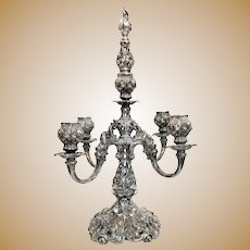 Victorian Ornate Silver Plated Candelabra Wallace Bros. Silver Co.