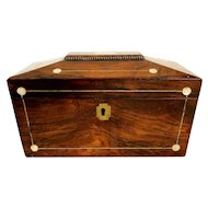 Antique 19th Century Rosewood MOP Inlaid Tea Caddy