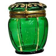 French Bohemia Green Glass Container Circa 1880