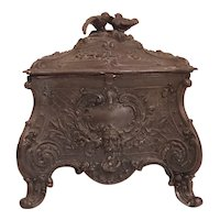 FRENCH Antique Metal Bird Jewellery Casket.