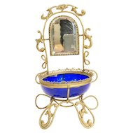 Antique French Mid 19th Century Blue Glass Jewelry Casket