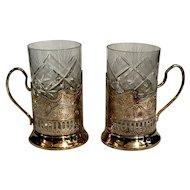 Vintage Soviet Era 1980's set of 2 glasses with Decorative holders