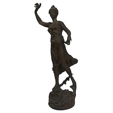 "French Antique Spelter Figurine - ""Printemps""/Spring"