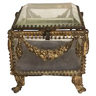 French Antique Bevelled Glass Jewellery Box