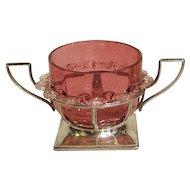 Antique Sterling Murano Glass Condiment Dish