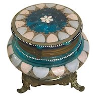 French Bohemia Blue Glass Container Circa 1880